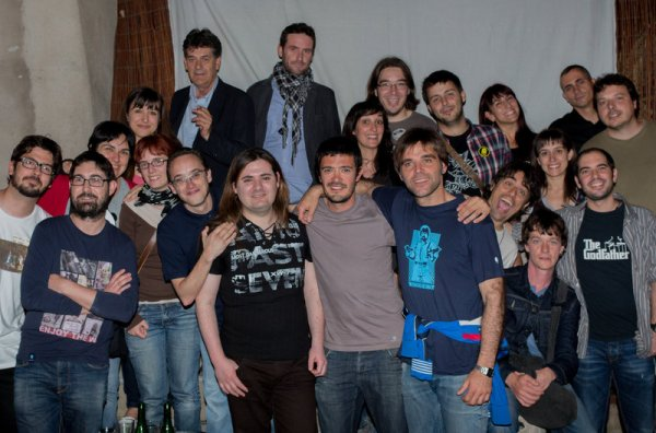 Foto de família de l'equip d'Scaletti en la presentació del capítol final. Foto: Jordi Clopés