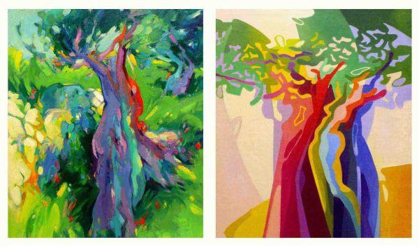"""Evolució. A l'esquerra: """"Oliveres a la garriga entramuntanada"""" (1974) A la dreta: """"A l'olivera vella el cos hi sura (2004)"""